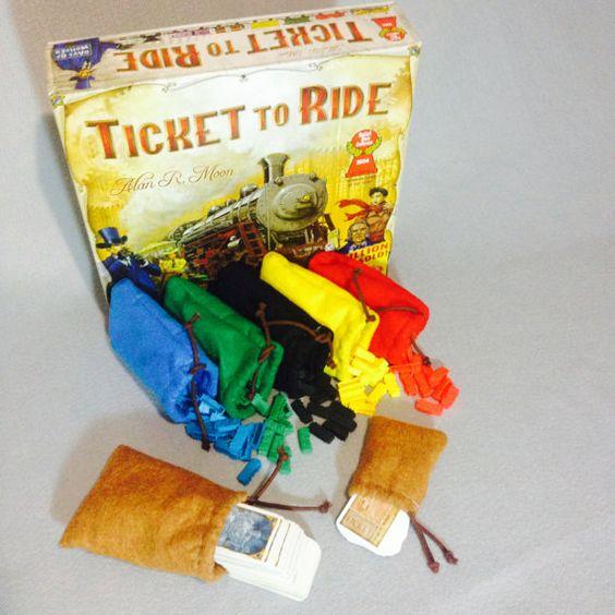 Saco de pano para guardar peças jogo Ticket to Ride