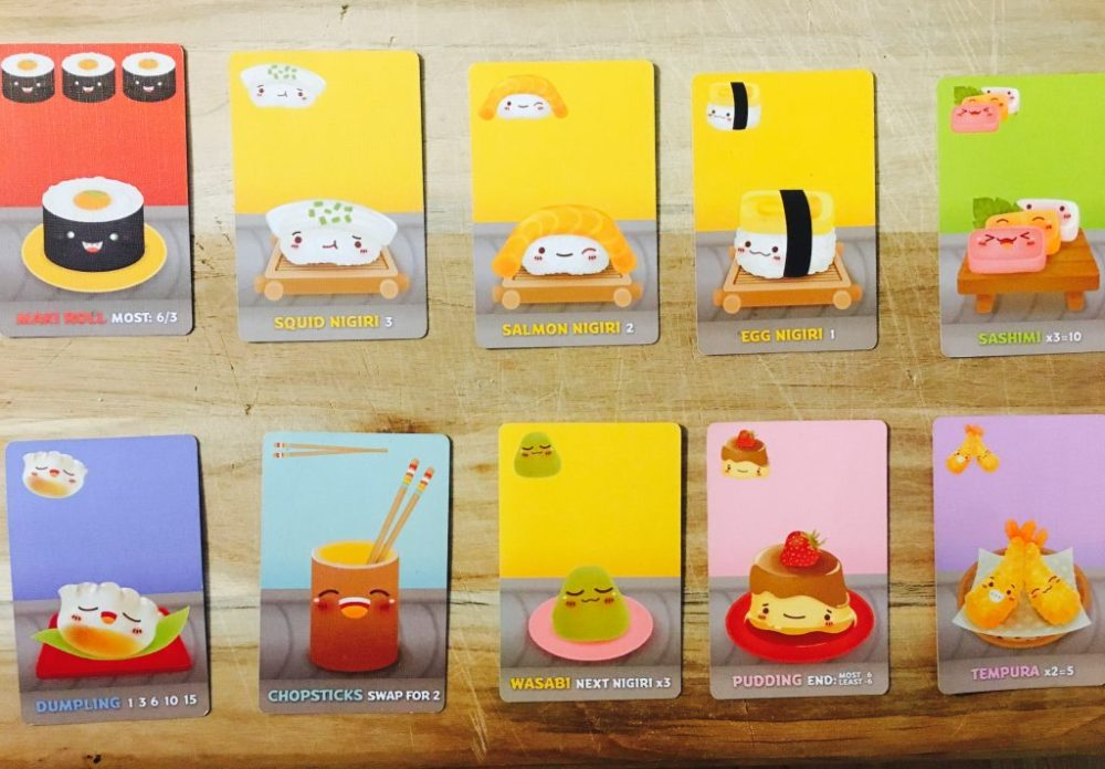 Veja as cartas e suas possíveis combinações em Sushi Go!
