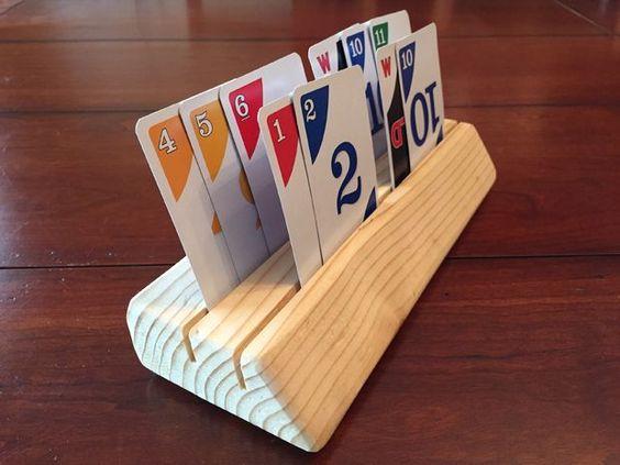Card Holder feito de madeira