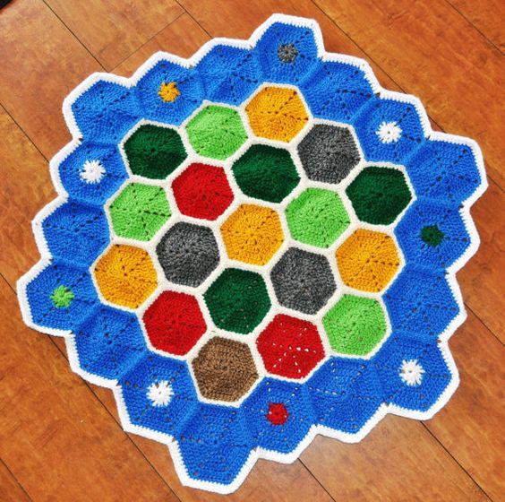 Versão em crochê do jogo de tabuleiro Catan