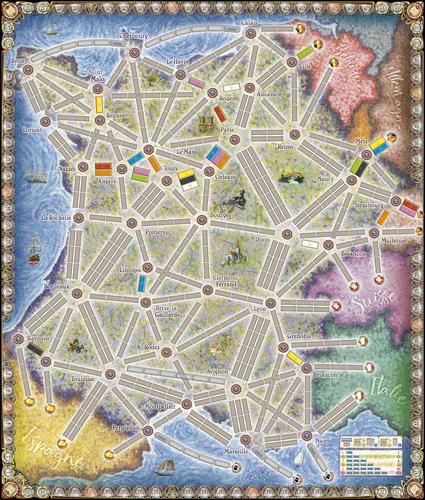 Mapa jogo de tabuleiro Ticket to Ride