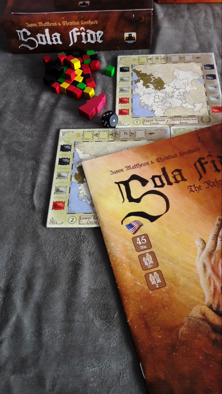 Componentes do Jogo de tabuleiro Sola Fide: The Reformation