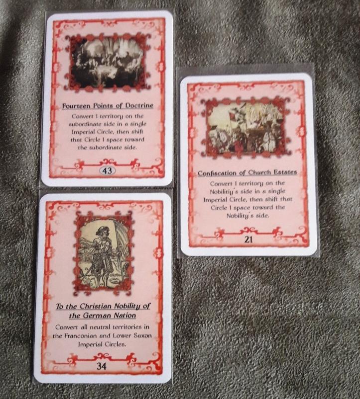 Cartas protestantes do Jogo de tabuleiro Sola Fide: The Reformation