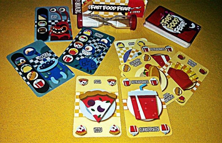 Componentes jogo de tabuleiro Fast Food Fear