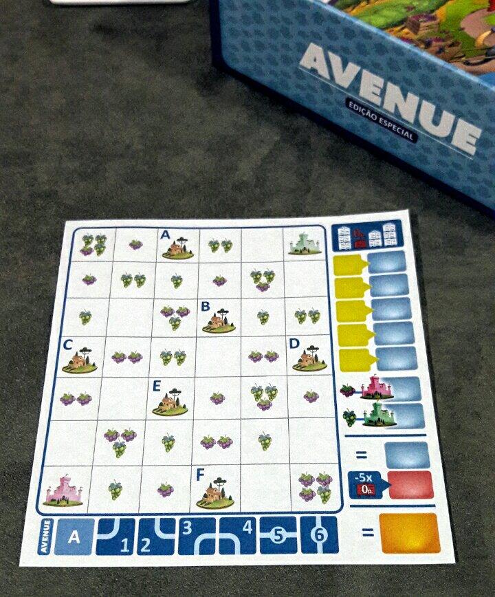 Folha de desenho do jogo Avenue