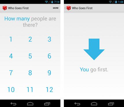 Aplicativo para escolher o jogador inicial Who Goes First