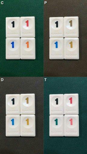 Jogo de tabuleiro Rummikub daltonismo