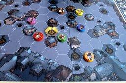 Personagens posicionados no tabuleiro do jogo Mr. Jack