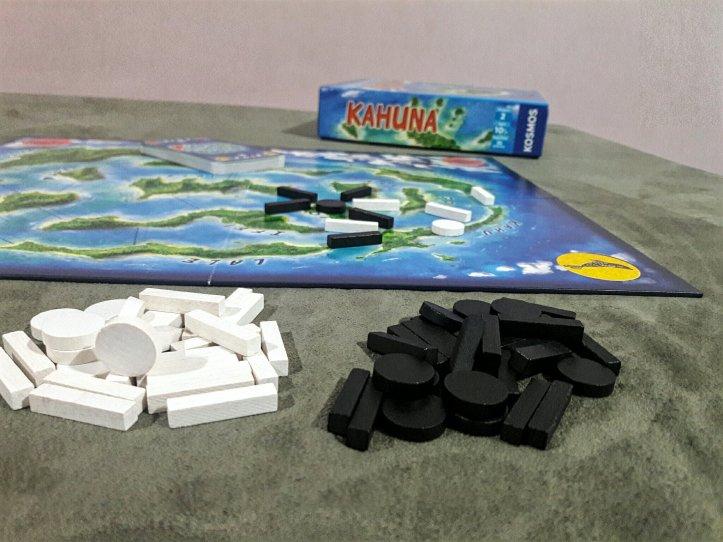 Componentes jogo de tabuleiro Kahuna