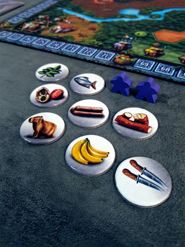 Recursos iniciais jogo de tabuleiro Xingu