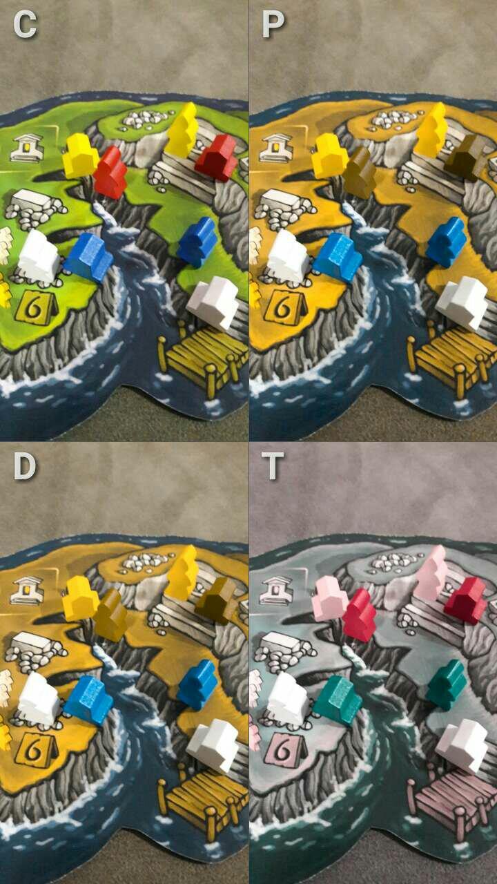 Foto dos componentes do jogo Luna com filto de Daltonismo para avaliar acessibilidade
