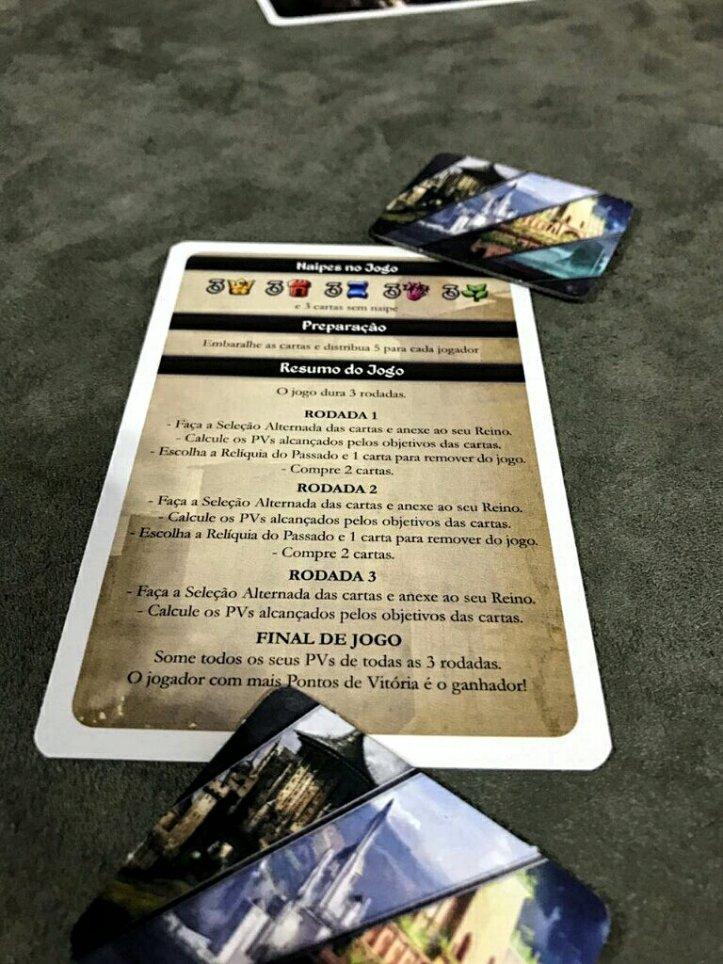 Carta com explicação de regras do jogo Tides of Time