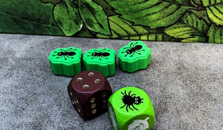 Dados e formigas do jogo infantil Spinderella