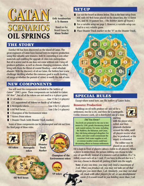 Catan cenario - Oil Springs