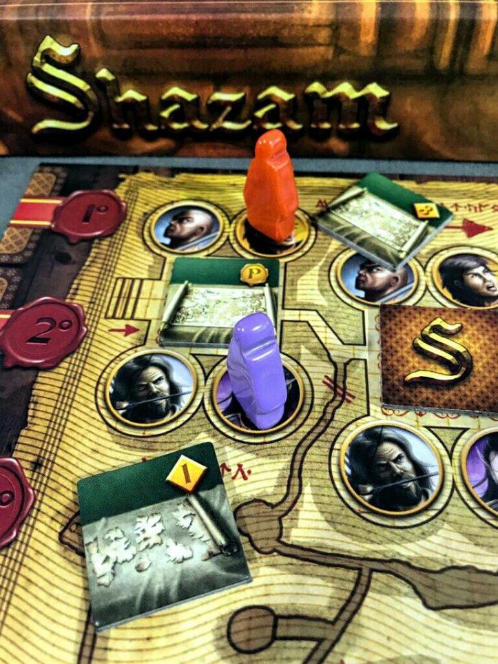 Tabuleiro do desafio final do jogo de tabuleiro Shazam