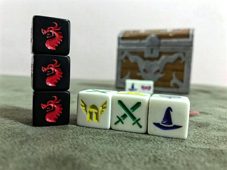 O temível dragão no jogo de tabuleiro Dugeon Roll