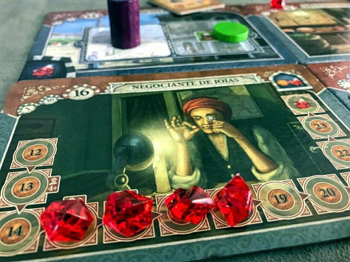 Compre rubis no negociante no jogo de tabuleiro Istanbul