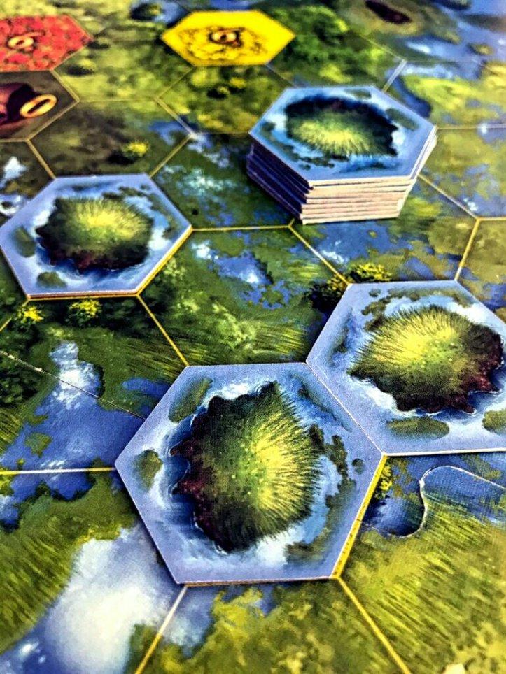 Áreas alagadas no jogo de tabuleiro Seeland
