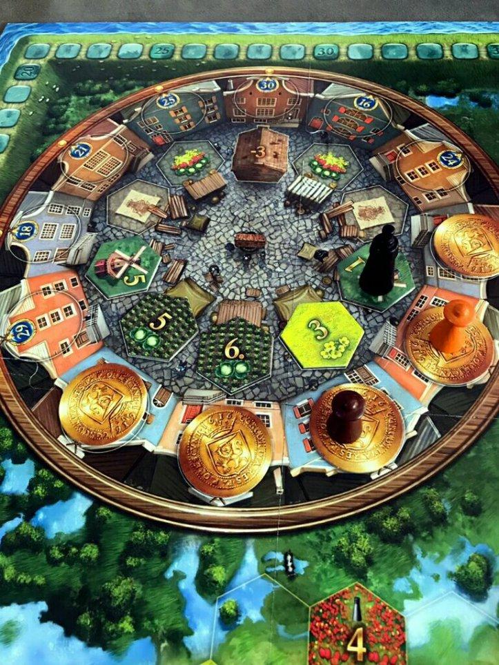 Mercado de compras no jogo de tabuleiro Seeland