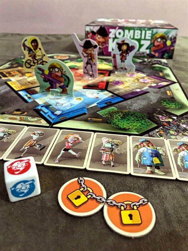 Personagens do jogo de tabuleiro infantil Zombie Kidz