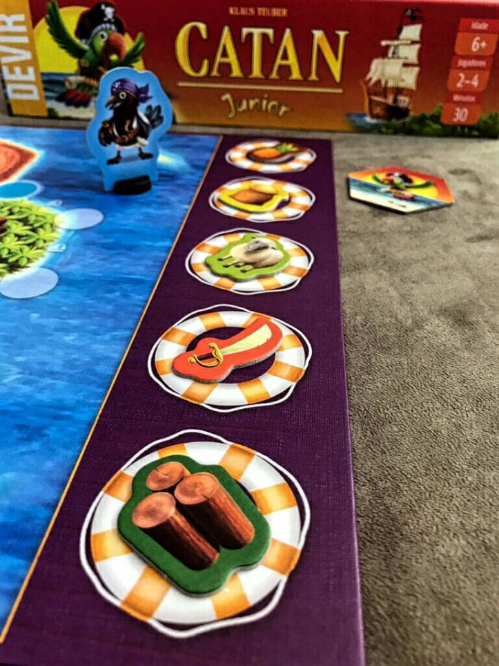 As trocas disponíveis no jogo de tabuleiro infantil CATAN Junior