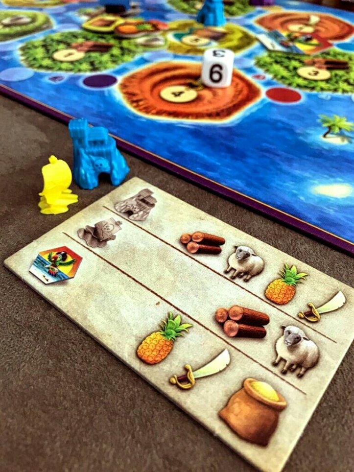 Construções para os pequenos piratas no jogo de tabuleiro infantil CATAN Junior